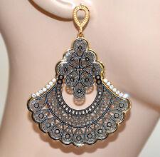 ORECCHINI argento oro pendenti strass donna traforati dark gothic eleganti A43