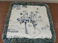 Custom RL Garden Potted Roses Pillow Cover Blue White Floral Fringed Zip 15in