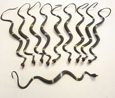 "10 NEW BLACK RUBBER SNAKES 24"" TOY REPTILE FAKE PRETEND SNAKE GAG GIFT"