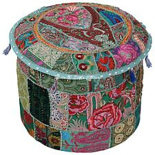 """Indian Round Pouf Cover Patchwork Embroidered Dorm Room Ottoman Cotton 16"""" Green"""