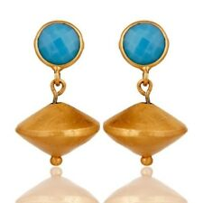 22K Gold Plated 925 Sterling Silver Natural Turquoise Gemstone Dangle Earrings