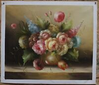 Art oil painting on canvas still life realism flower hand-painted signed 20x24""