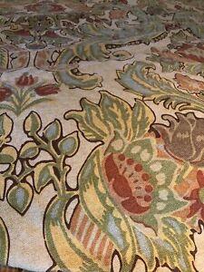 Pottery Barn Simone Tan Jacobean Floral Paisley Linen Blend King Duvet Heavy EUC