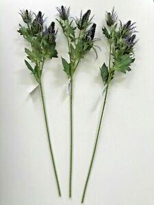Pack of 3 Artificial Sea Holly Sprays 70 cm Tall Purple - Eryngium