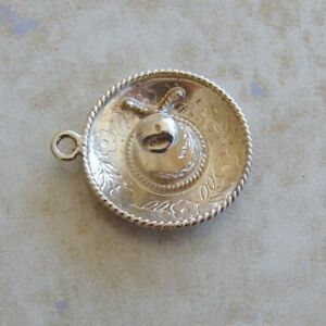 Large Sombrero Mexican Siesta Hat Sterling Silver Bracelet Charm Mexico Travel;