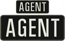 AGENT embroidery patch 4X10 and 2x5 hook ON BACK white