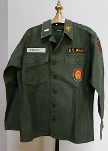 US Army Korean War Era Sateen Utility Shirt W Patches Small Vtg Named O'Connell