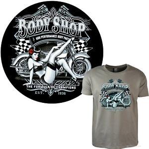 Moto Biker T-Shirt Officina Garage Classic Custombike Pinup Girl 4037