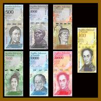 Venezuela 500 - 100000 (100,000) Bolivares (7 Pieces Pcs Set), New 2016-2017 Unc