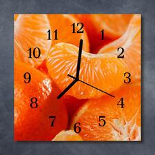 Glass Wall Clock Kitchen Clocks 30x30 cm silent Tangerines Orange