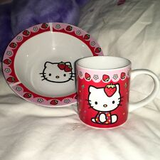 Hello Kitty  Ceramic Drinking Mug and Bowl. Official Sanrio Product