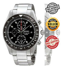 SEIKO Alarm Chronograph SNA487 SNA487P1 Mens Black Dial Black Bezel 100m Watch