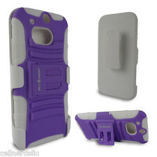 HTC One M8 case and Belt Clip Holster with stand Black Purple on White