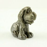Vintage 1960's Pewter Hound Dog Miniature Figurine - Great Detail