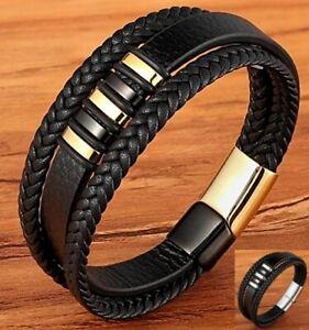Deluxe Leder-Armband Wickel 3 Reihig geflochten Edelstahl Echtleder Herren Damen