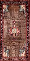 Vintage Geometric Brown Koliaei Hamedan Oriental Area Rug Wide Runner 5'x10'