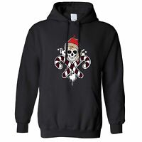 Spooky Christmas Hoodie Skull And Cross Candy Canes Santa Xmas Halloween