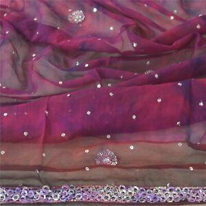 Sanskriti Vintage Dupatta Long Stole Pure Georgette Silk Purple Handmade Tie-Dye