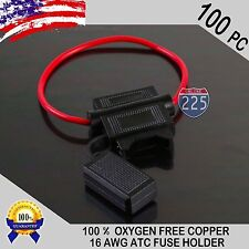 100 Pack 16 Gauge ATC In-Line Blade Fuse Holder 100% OFC Copper Wire Protection