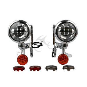 Turn Signal LED Spot Fog Light Bracket For Harley Street Electra Glide 14-2020