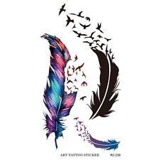 Planche de 3 Tatouages éphémères plume et oiseaux qui s'envolent waterproof.