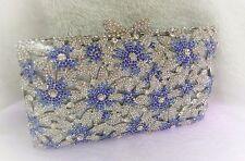 Silver/Blue Color New Bridal/Evening Handmade Austria Crystal Purse Clutch Bag
