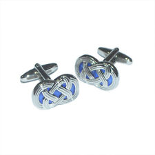 BLUE CELTIC KNOT Irish Ireland Symbol Graphic Wedding Present GIFT Box CUFFLINKS