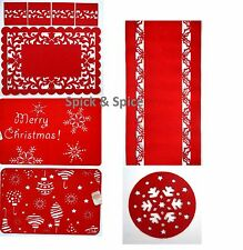 Christmas Red Felt Snowflake Dinner Table Runner Place mat Coasters Placemat Set