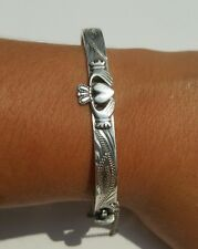Sterling Silver Irish Claddagh Hindge Bangle Bracelet With Safety Chain