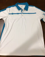 Men's Adidas Golf Climacool Short Sleeve Polo Shirt Size L White/Teal