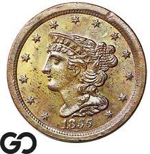 1855 Half Cent, Braided Hair, Sharply Struck, Near Gem BU++