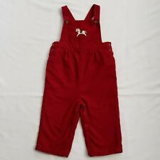Janie And Jack Layette Boys Red Overalls Size 12 to 18 Months