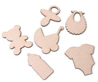 Wooden Mdf Baby Shapes New Baby Christening Shapes Baby Shower 55mm set of 12