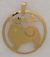 Samoyed Jewelry Gold Pendant by Touchstone Dog Designs