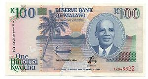 MALAWI 100 KWACHA 1994 PICK  29 B UNC