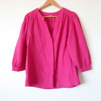 Hot Fuchsia Pink Cotton Gauze Puff Sleeve Button Shirt Top Blouse Size S/M 10/12
