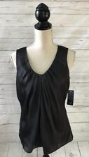 ANNE KLEIN Black Sleeveless Pleated Front Blouse ~ Medium~NWT $79