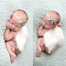 Newborn Baby Girl Feather Angel White Wing+Tie Headband Photography Prop Costume