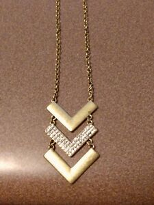 J. CREW long brass colored chevron necklace with clear crystals, beautiful