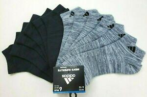 adidas Men's Low Cut Socks 6 Pack L 6-12 Black Grey Compression SuperLite MRP$20