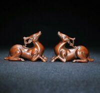 Collect fengshui decor boxwood carved pair deer Good luck statue figurines