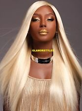 "36"" Long Straight Layered Bleach Blonde Full Lace Front Wig Hair Piece NWT #613"