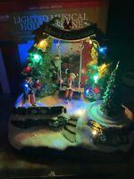 "9"" Animated Music Lighted Christmas Tree Village Cardinal Santa Claus Swing Kid"