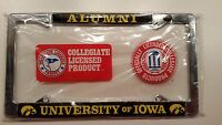 Iowa Hawkeyes Alumni Metal License Plate Frame - Officially Licensed - Chrome