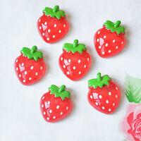 Cute 12pcs Red Strawberry  Fruit Flatback Scrapbooking  Pendant Phone  Craft AU