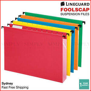 25x Suspension Files Foolscap Hanging Files Folders Tabs Colours Filing Cabinet