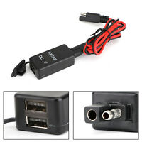 12-24V Waterproof Motorbike SAE to USB Adapter Charger Voltmeter Dual USB B2