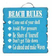 BEACH RULES SIGN Wall Decor Pool House Deck Beach Nautical Sea Ocean Wood ART