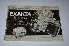 VINTAGE INSTRUCTIONS MANUAL IN DEUTCH FOR EXAKTA VAREX VX 24X36mm CAMERA