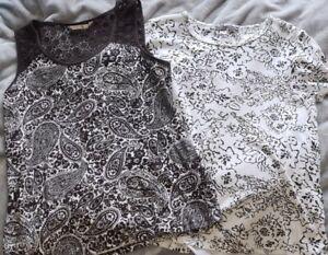 M&S & TU, 2 x tops, t-shirt & vest with lace, black & white, size 16